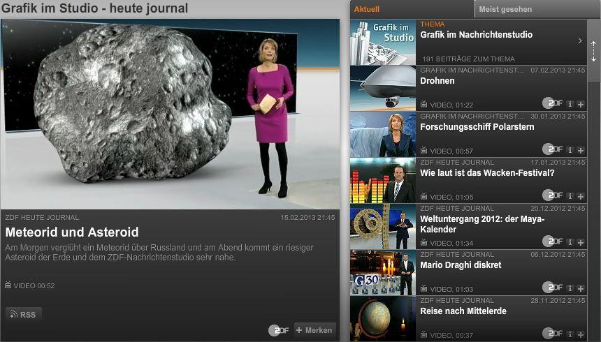 Mediathekskanal Grafik im Nachrichtenstudio © ZDF
